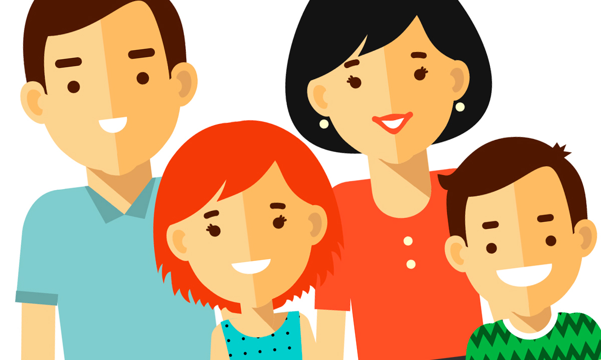 Ilustration showing a father, mother, daughter and son