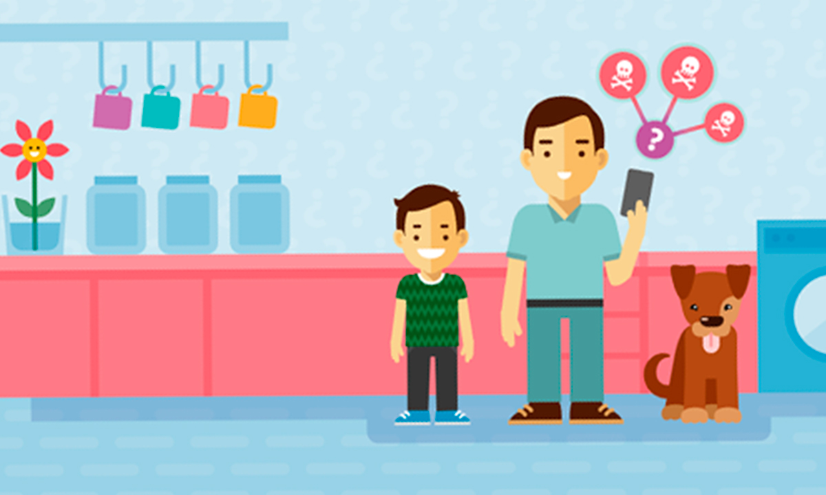 Illustration showing a man holding a mobile phone, next to a boy and a dog