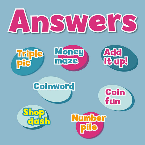 Answers for activity sheets