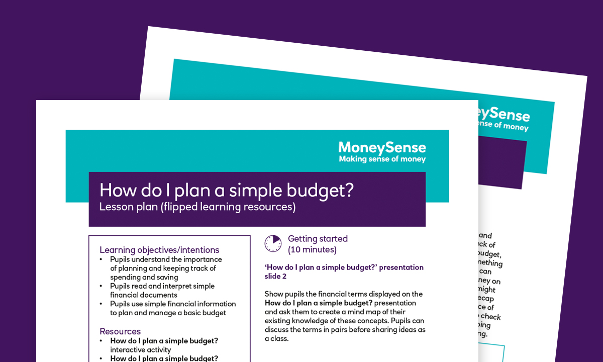 Lesson plan for How do I plan a simple budget?