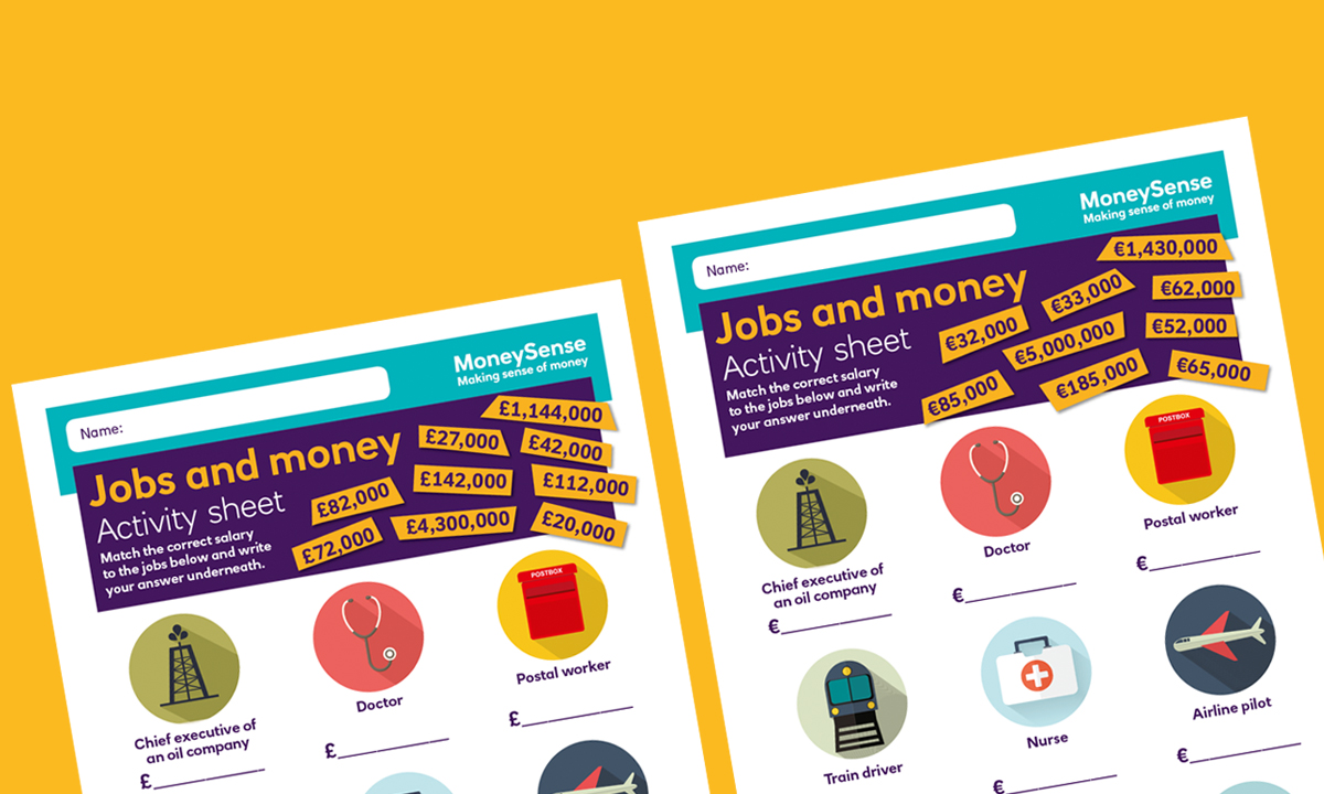 Activity sheet for What are the links between jobs and money?