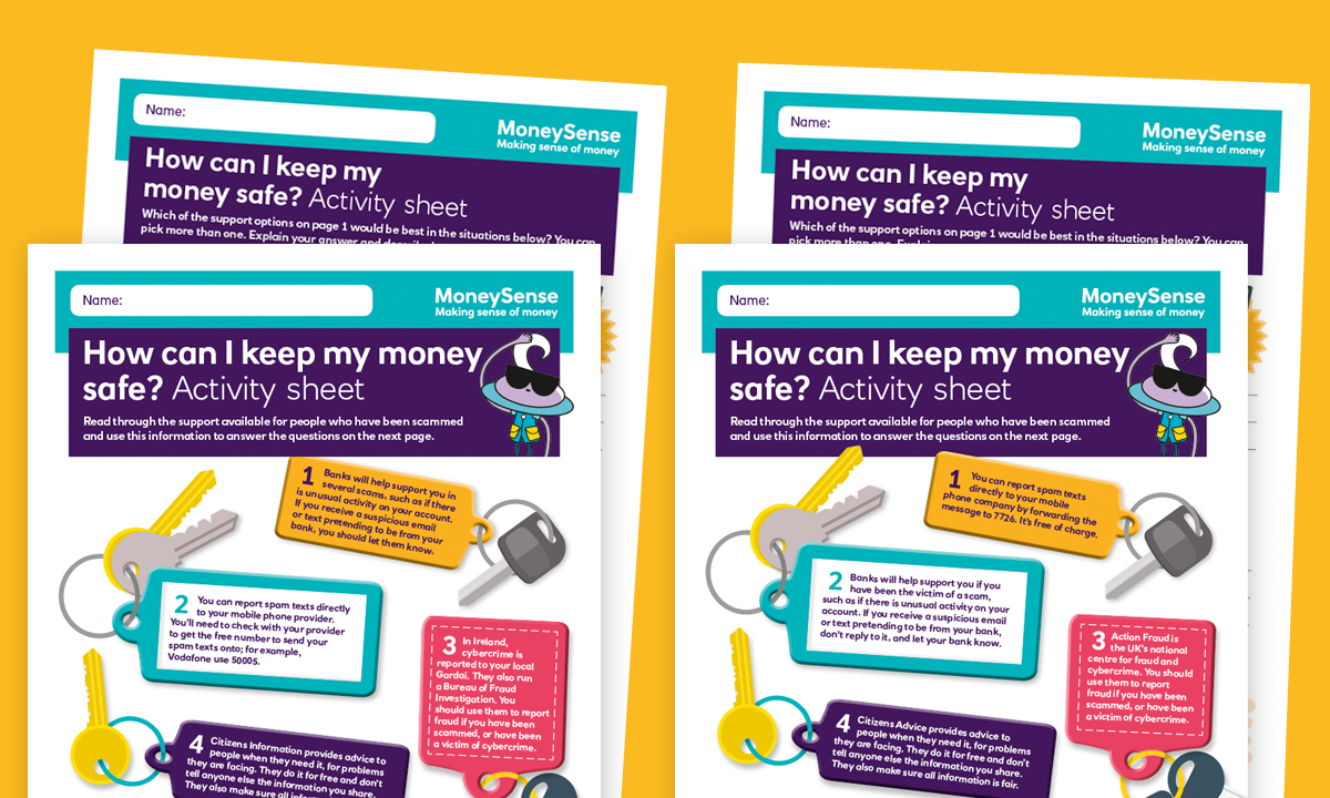 Activity sheet for How can I keep my money safe?