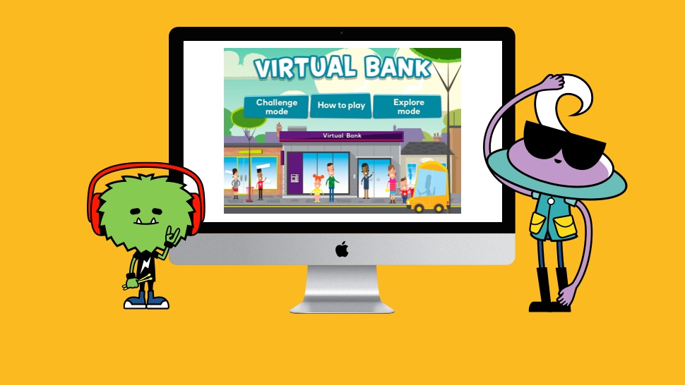 MoneySense Virtual bank on a computer screen