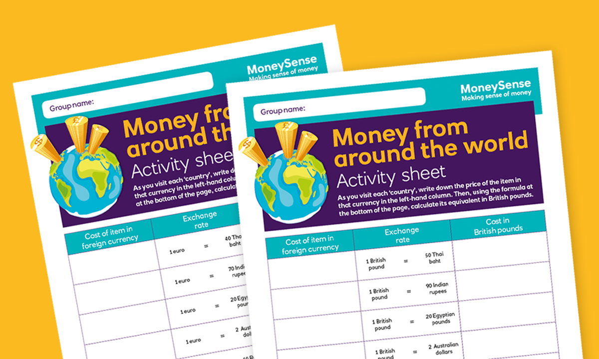Activity sheet for How do I understand information about money from around the world?