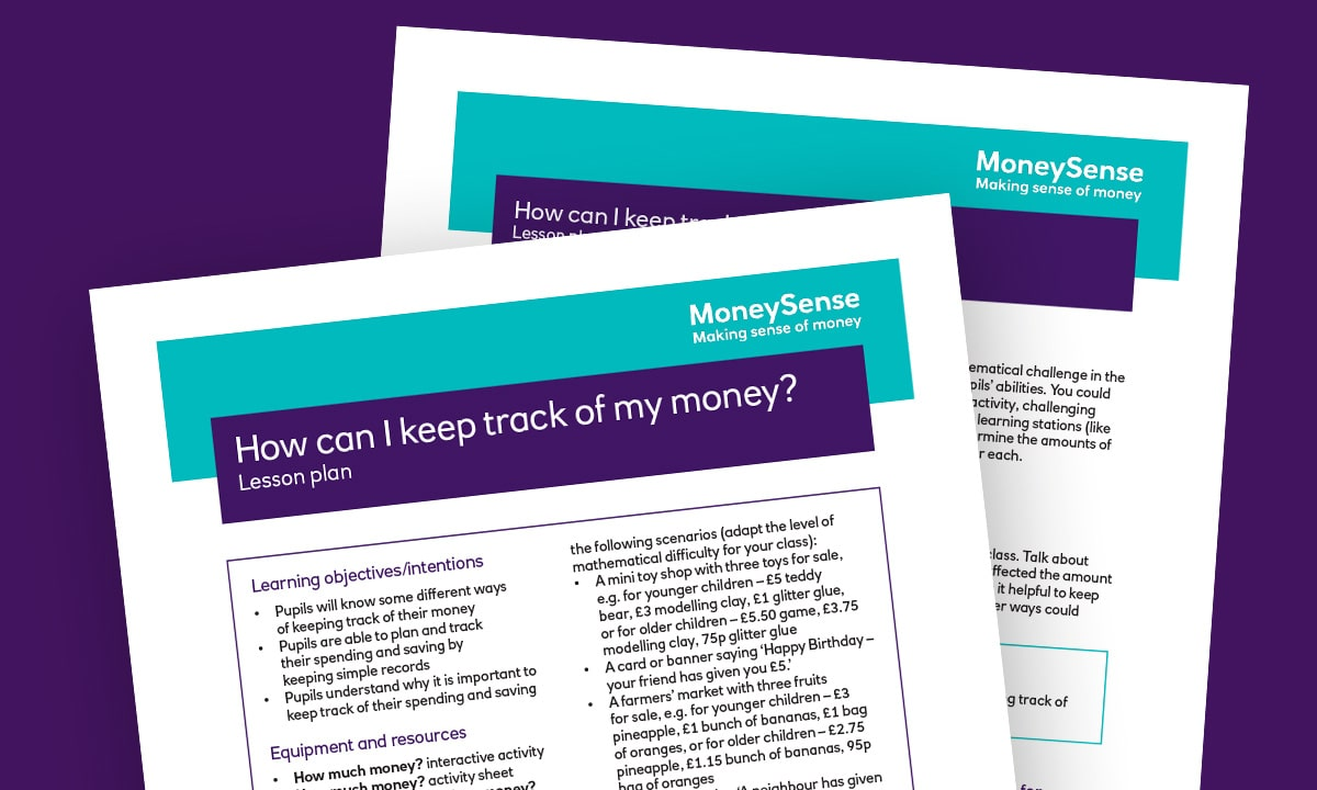 Lesson plan for How can I keep track of my money?