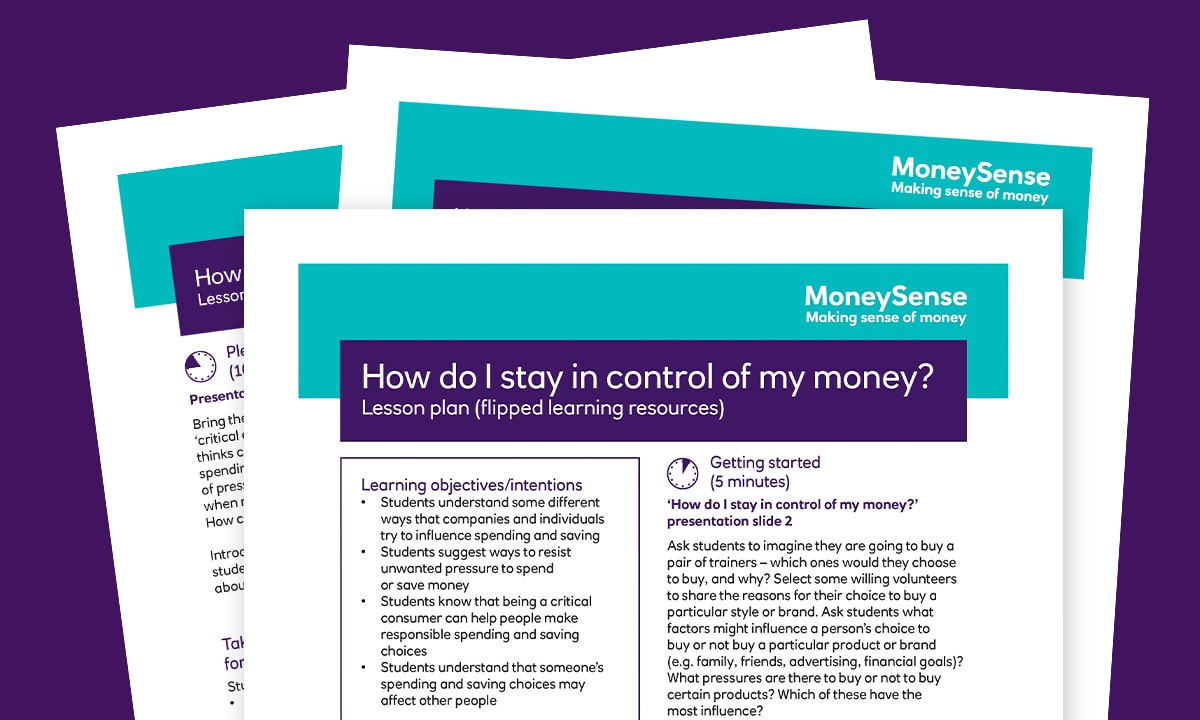 Lesson plan for How do I stay in control of my money?