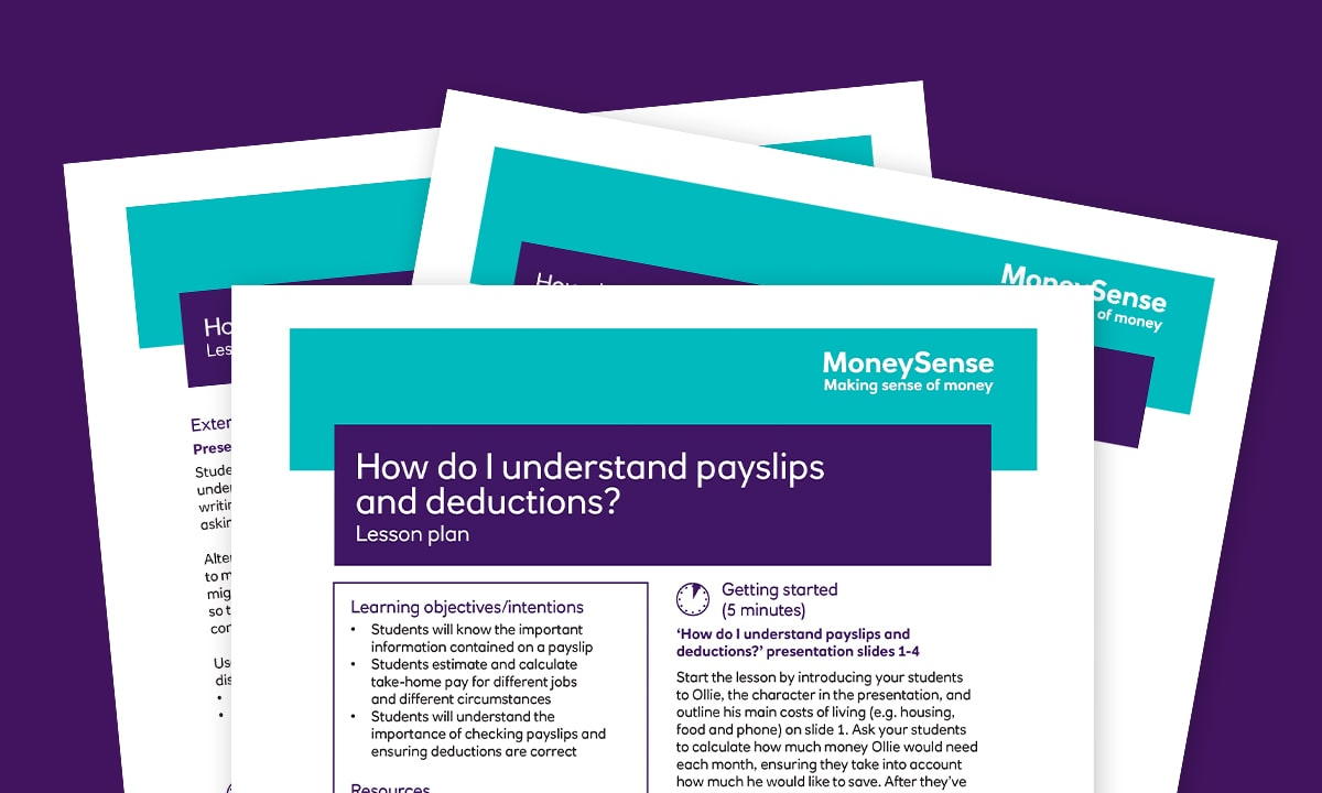 Lesson plan for How do I understand payslips and deductions?