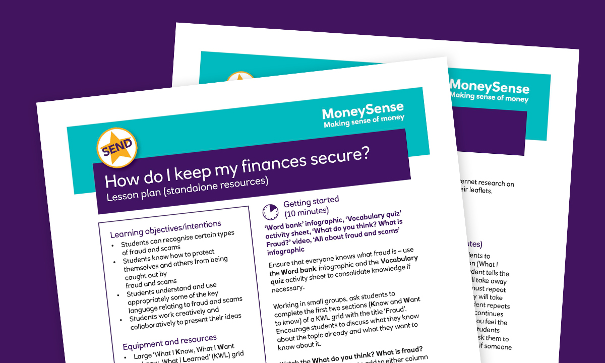 SEND Lesson plan for How do I keep my finances secure?
