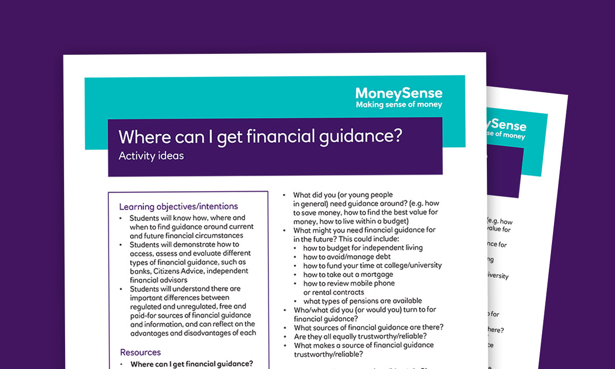 Activity ideas for Where can I get financial guidance?
