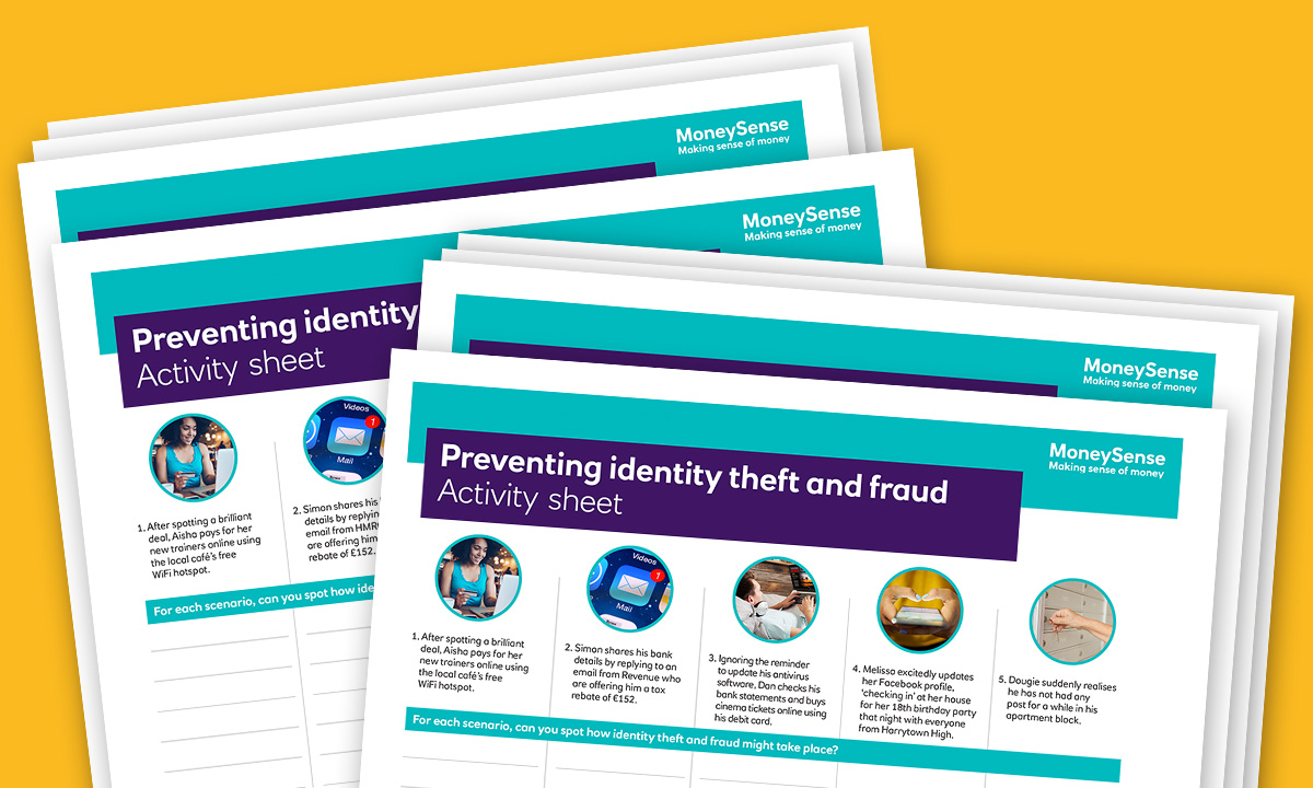 Activity sheet for How can I avoid identity theft and fraud?
