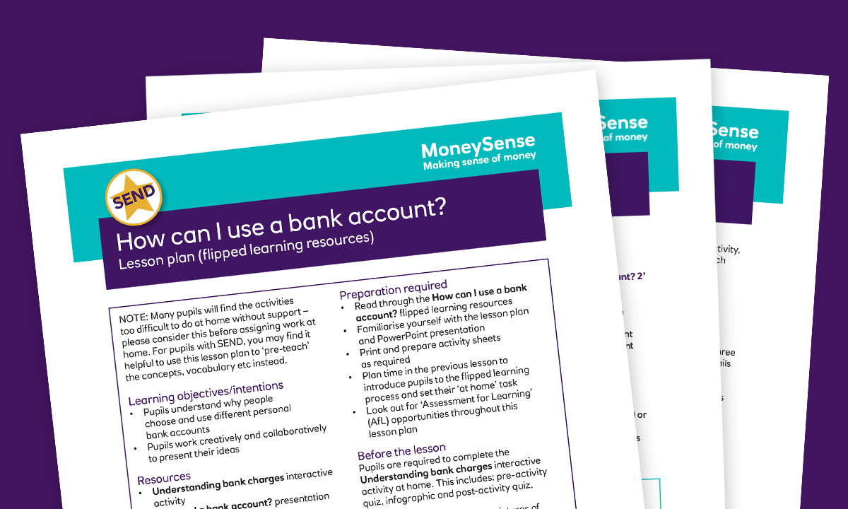 SEND lesson plan for How can I use a bank account?
