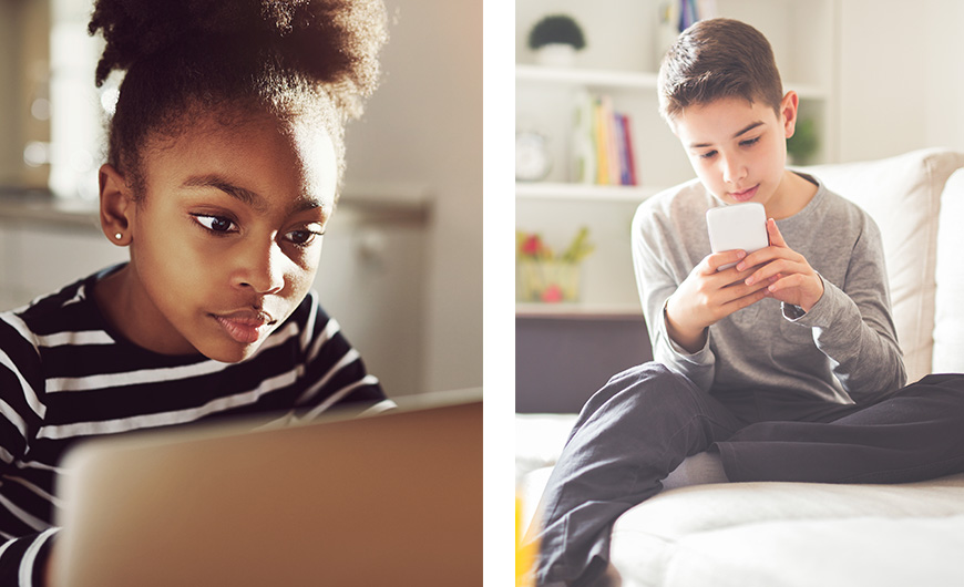 A girl engrossed in her laptop and a boy playing on his mobile phone